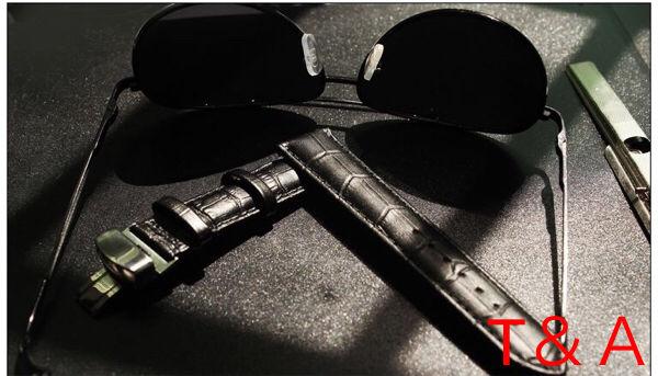 ★時計ベルト Dバックル クロコ型押し 20mm★ブラック