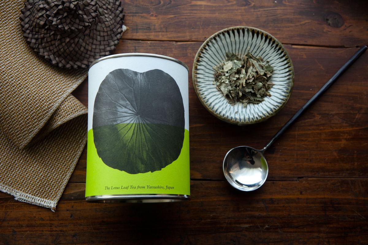 八代の日本古来のはすの葉茶(リーフ/缶)