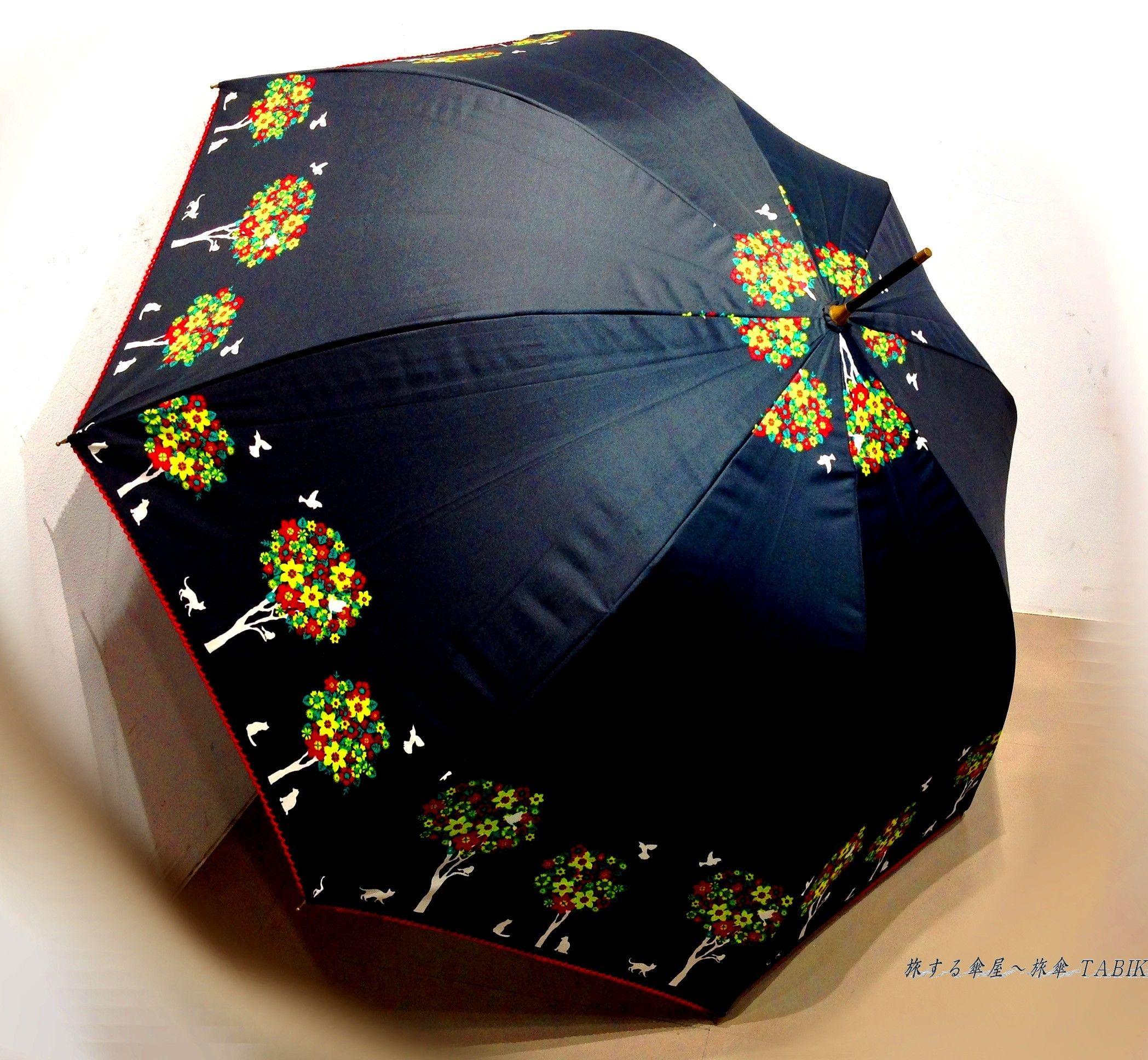【-18~19℃】傘専門店 通販 東京 日傘 晴雨兼用 サビにくい 黒骨 遮光 遮熱 旅傘【ドームStyle 小鳥と猫 Black】
