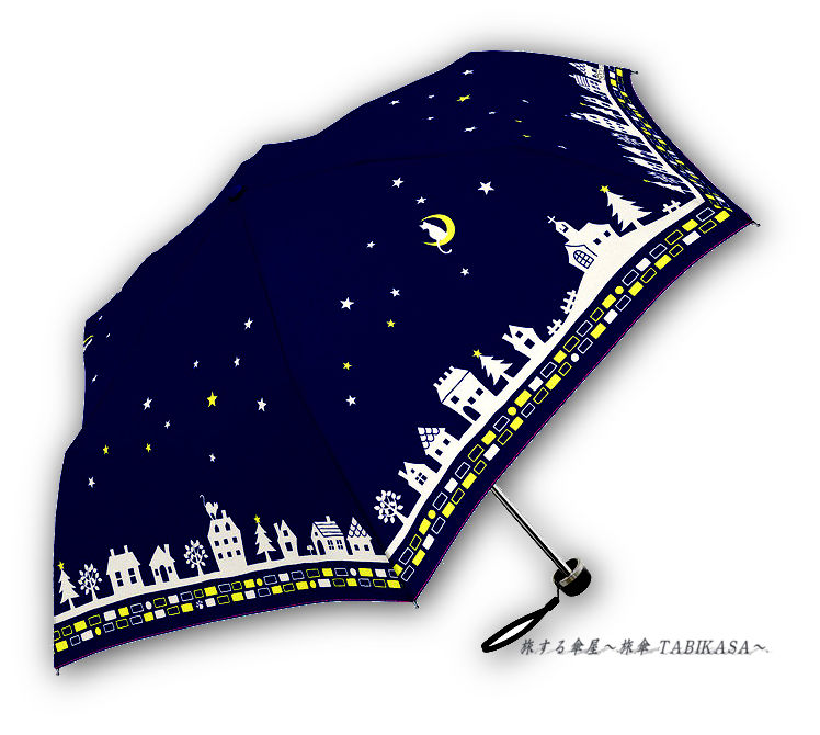 【風速25mまで耐える】傘専門店 通販 東京 折りたたみ 雨傘 グラスファイバー サビない 旅傘 【耐風 夜空と猫ちゃん Navy】