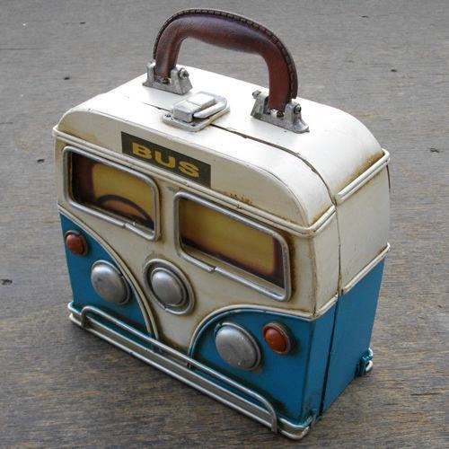 ヴィンテージカーデザイン(ビンテージ)♪グッドオールド バス ストレージボックス♪ ブルー