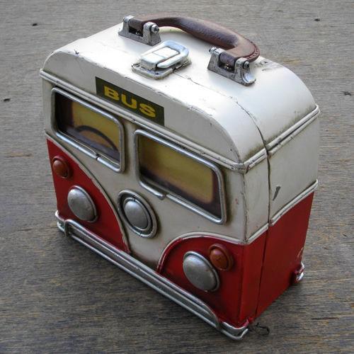 ヴィンテージカーデザインビンテージ♪グッドオールド バス ストレージボックス♪ レッド
