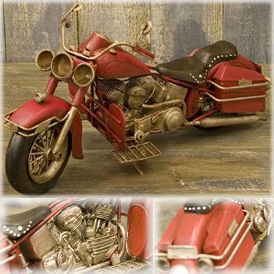 ミニチュアのブリキバイク♪オールド バイク ビンテージ(レッド)♪