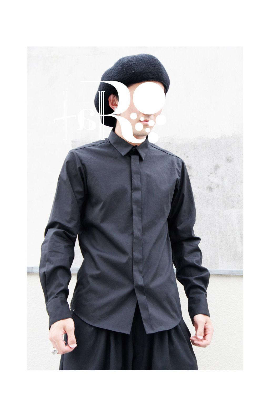 【SALE 50%OFF】taRo  逆比翼ドレスシャツ (ブラック)