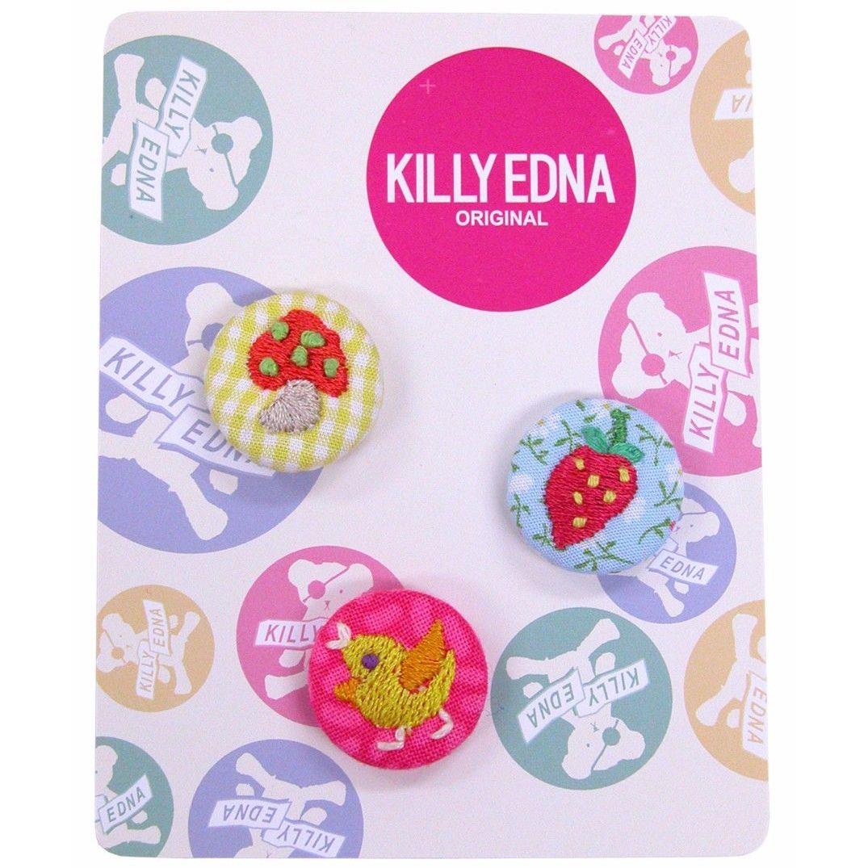 KILLYEDNA(キリィエドナ)刺繍くるみボタン キリーズマーブル 3個セット20mm アソートA