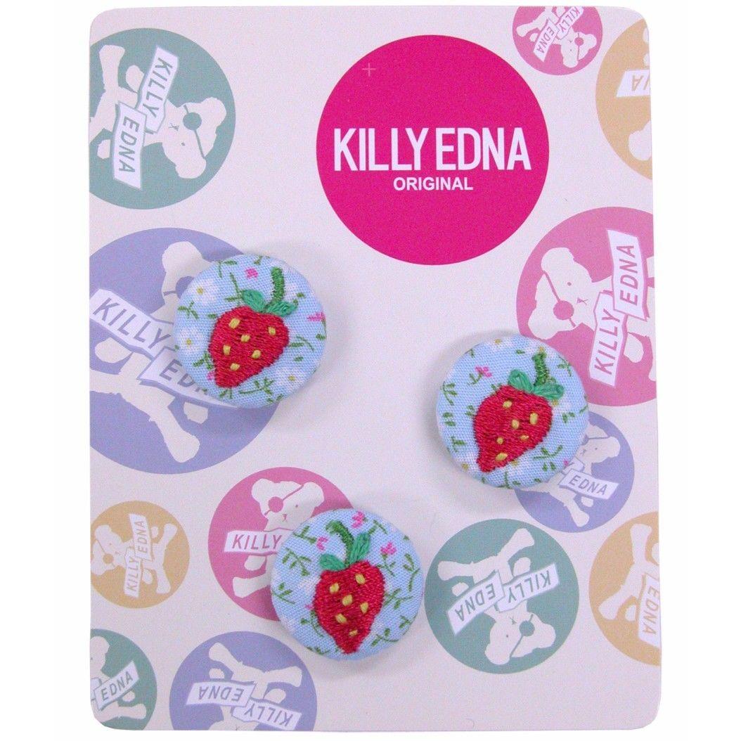 KILLYEDNA(キリィエドナ)刺繍くるみボタン キリーズマーブル 3個セット20mm ピンクのイチゴ