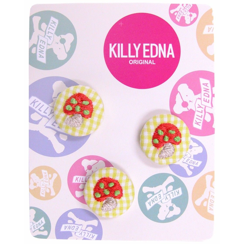 KILLYEDNA(キリィエドナ)刺繍くるみボタン キリーズマーブル 3個セット20mm 赤いきのこ