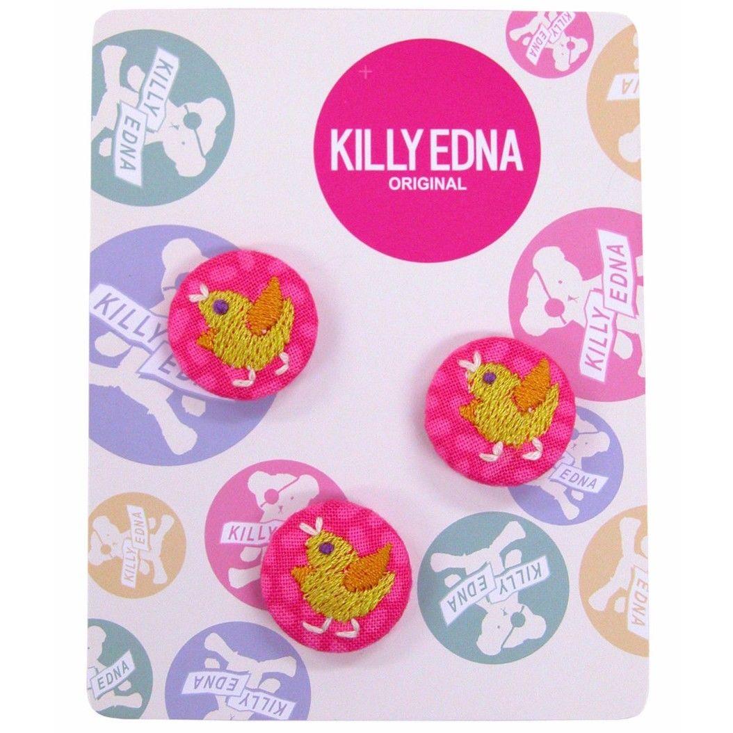KILLYEDNA(キリィエドナ)刺繍くるみボタン キリーズマーブル 3個セット20mm 黄色のひよこ