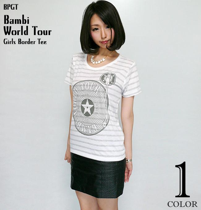 sp004bgt - Bambi World Tour ガールズ ボーダーTシャツ - BPGT -G-( ワールドツアー ロック バンド ライブ フェス レディース 半袖 )