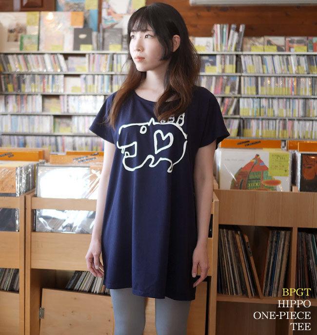 sp053opt - カバ Tシャツワンピース -G- かば 河馬 イラスト 落書き プリント かわいい ネイビー 紺色 半袖