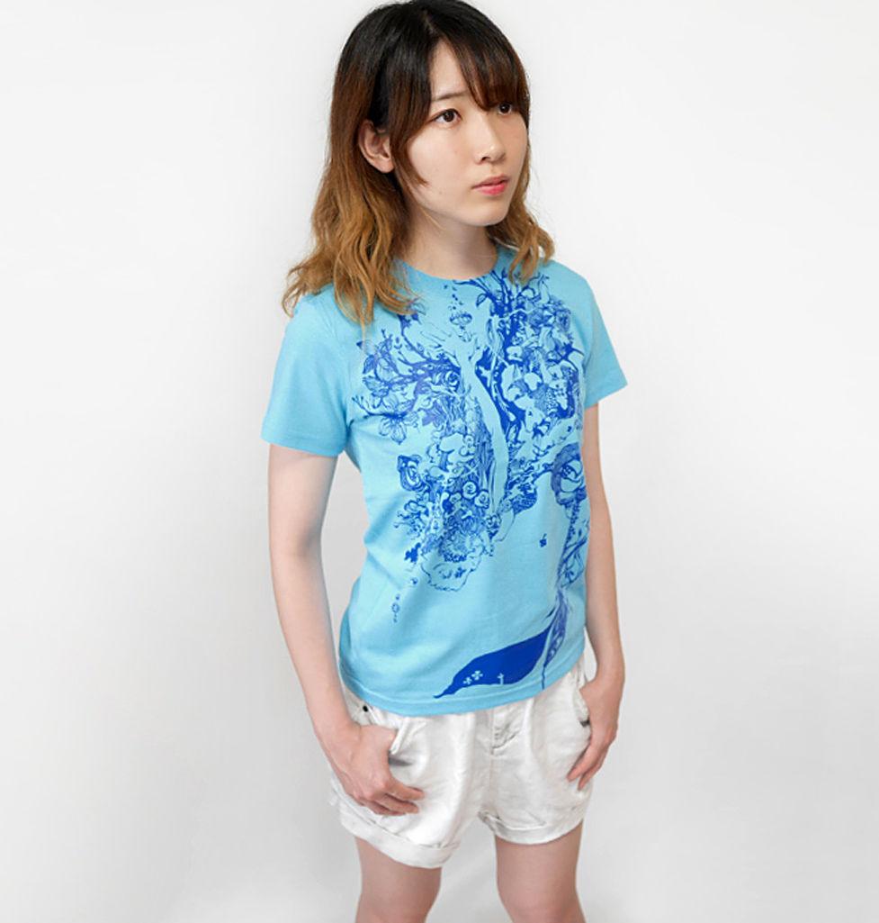 bg013tee-ab - 魚座ガール Tシャツ (アクアブルー)-G- 半袖 うお座 星座 イラスト 可愛い カジュアル メンズ レディース