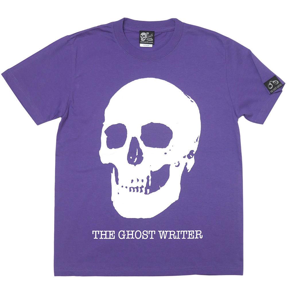 tgw013tee-pu - スカル Tシャツ ( V.パープル )-The Ghost Writer-G- 半袖 黒 ドクロ パンクロックTシャツ 紫色