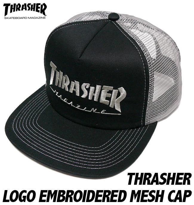 sq6526 - THRASHER エンブロイダード メッシュキャップ -G-( スラッシャー 刺繍ロゴ 帽子 CAP )