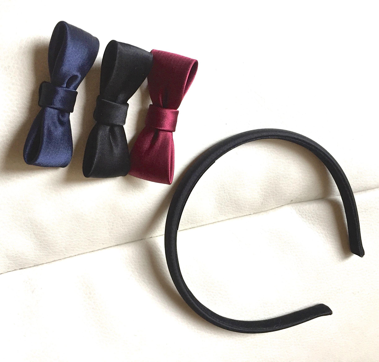 リボン取り替え可能な サテン リボン カチューシャ  ボルドー・ネイビー・ブラックのリボン