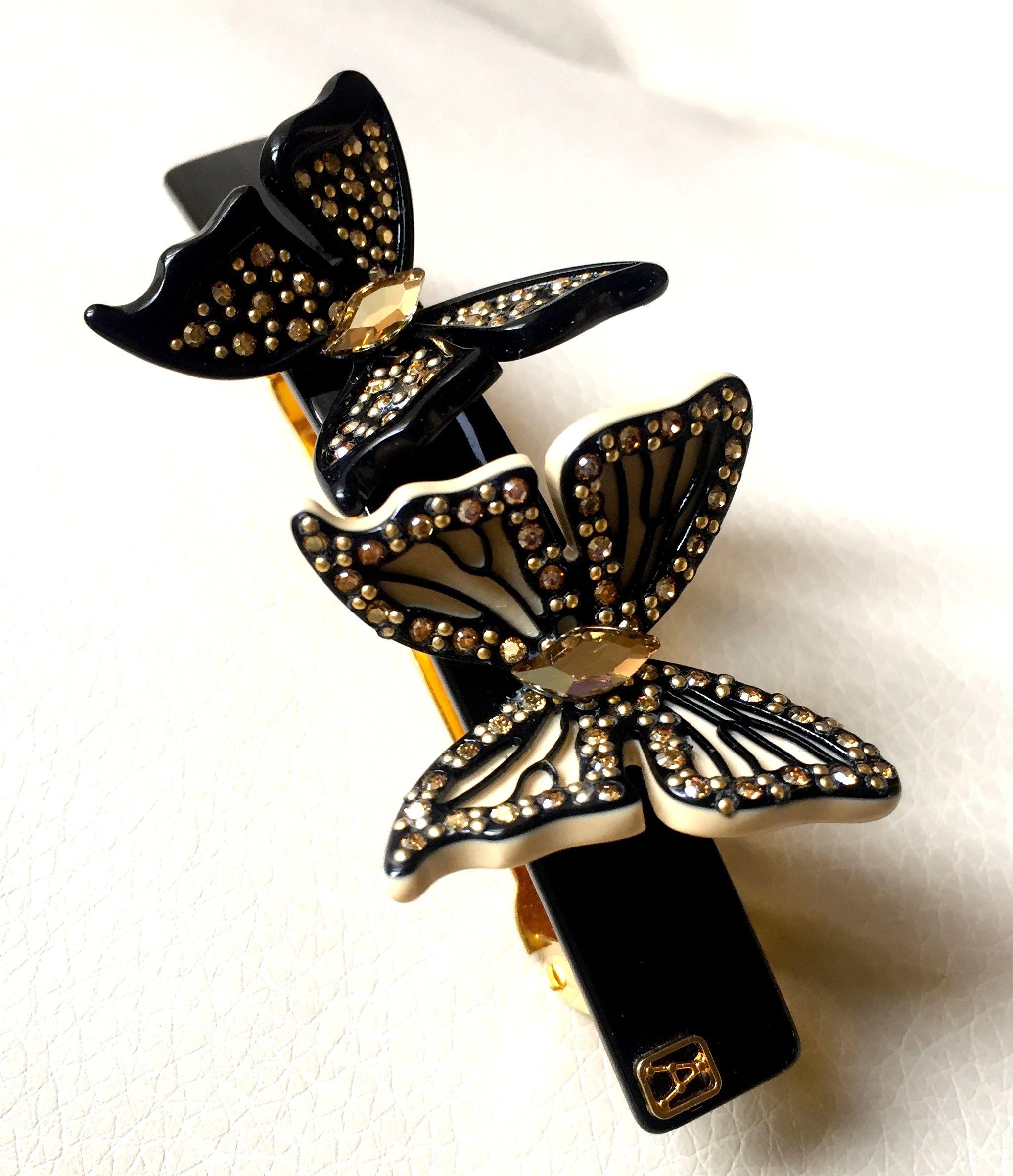 Alexandre de Paris(アレクサンドル ドゥ パリ)チョウチョ シリーズ   バレッタ ダブルチョウチョ 黒系