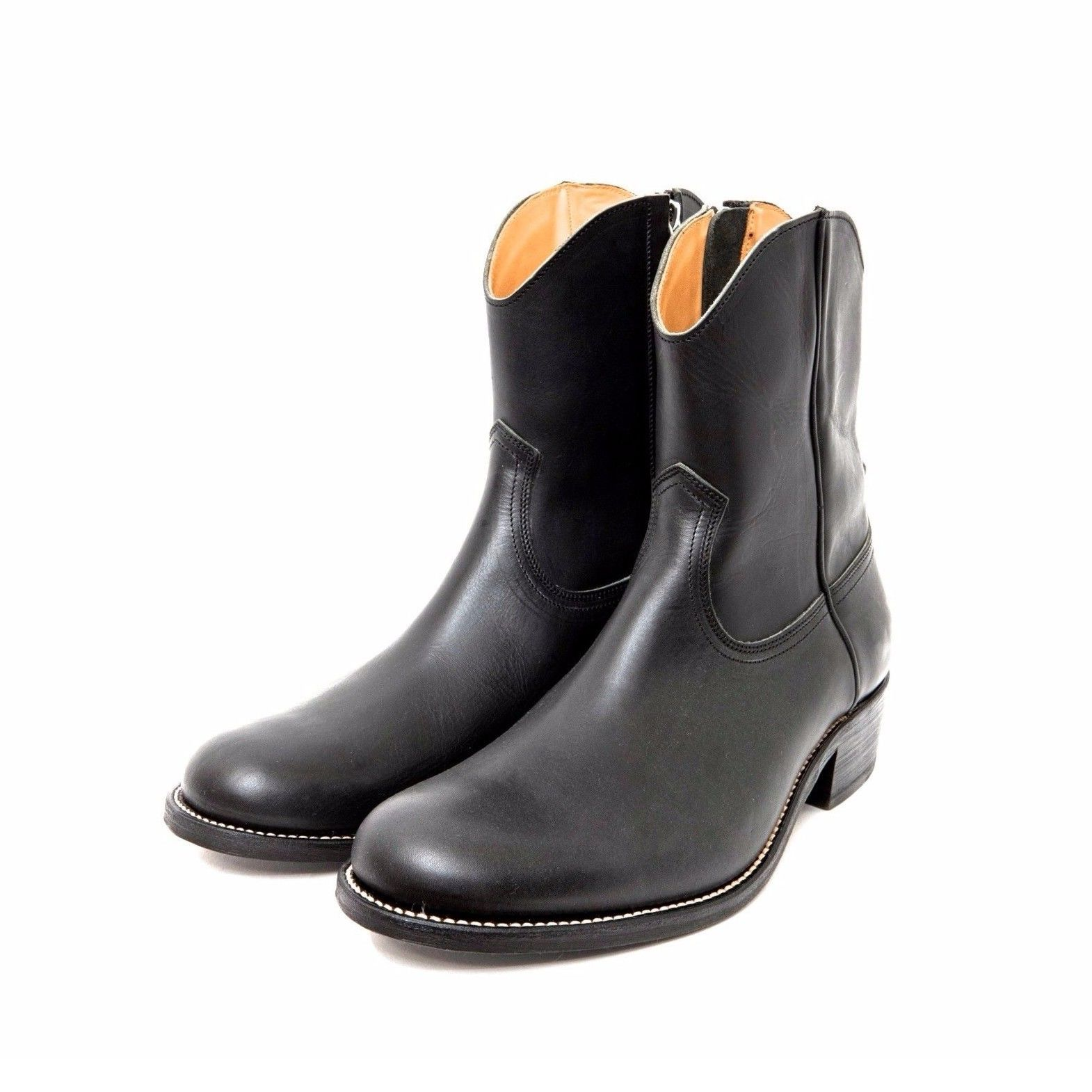 Cow Boy Leather Side Zip Boots. -Black-