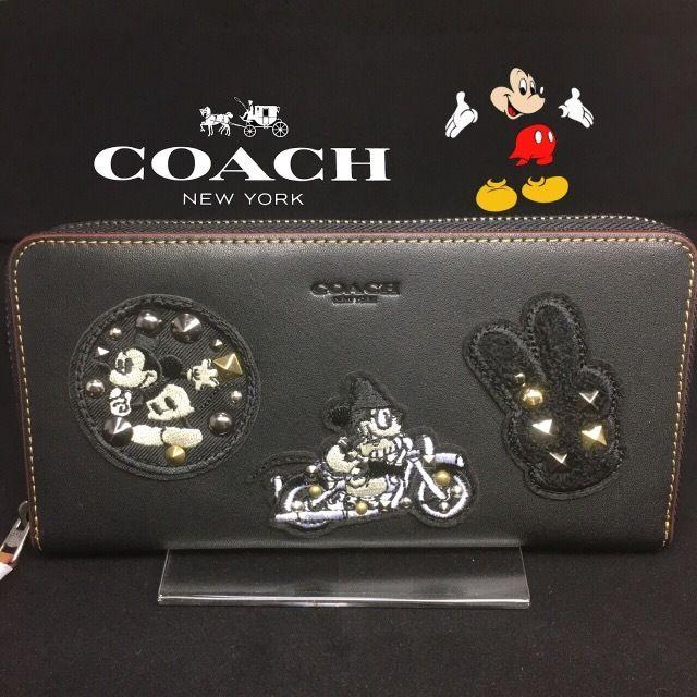 2017最新★ コーチ × ディズニーコラボ長財布F59340 ブラック ラウンドファスナー