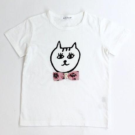 mikan みかん ハンドプリント おにぎり猫 Tシャツ