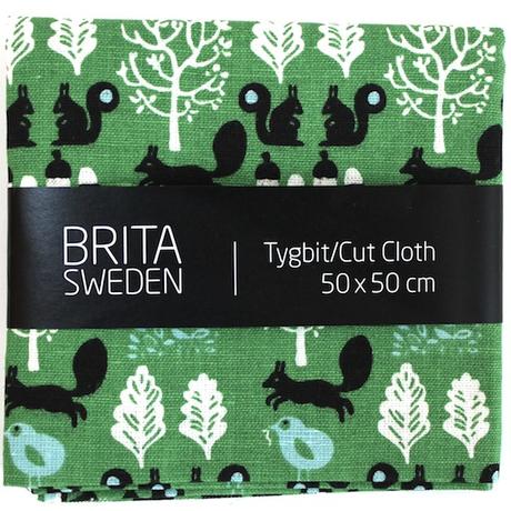 BRITA SWEDEN(ブリタ スウェーデン) カットクロス(50cm X 50cm) 《Sigrid りすプリント グリーン》