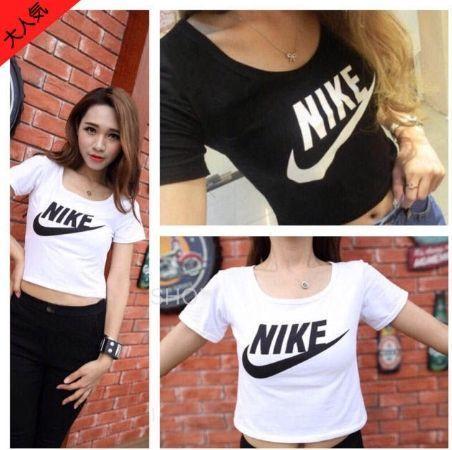 人気 ナイキNike腹出しTシャツ 可愛い ブラックとホワイト選択