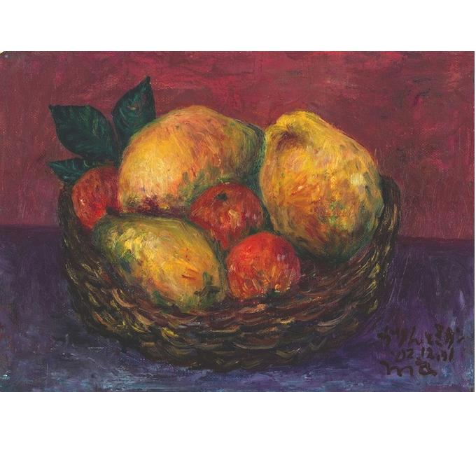果物のあるかご 油彩画F4号