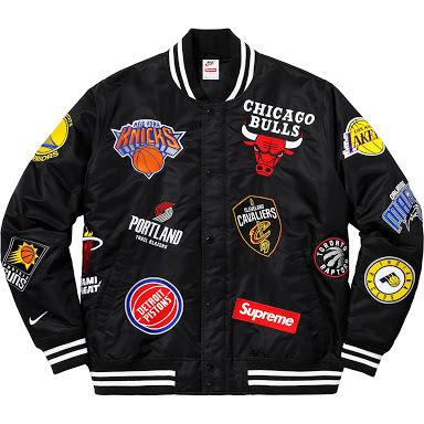 18ss supreme  NIKE  NBA satin jacket