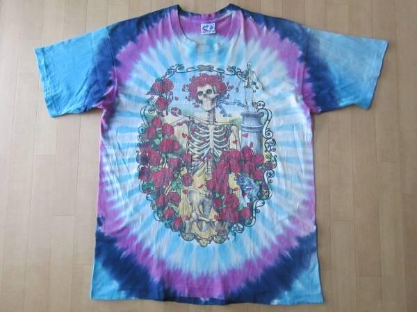90's USA製 グレイトフルデッド 30周年記念 スカル&ローズ タイダイ染め Tシャツ XL デッドベア Grateful Dead Bear ビッグシルエットLSD【deg】