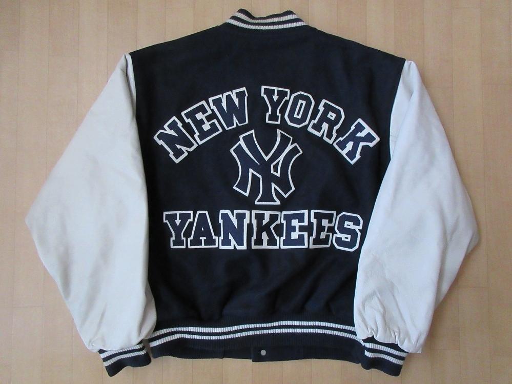 90's USA製 New York Yankees アーチNYロゴ ワッペン 袖革スタジャン L ニューヨーク ヤンキース スタジアム ジャケット 本革 MLB田中将大【deg】