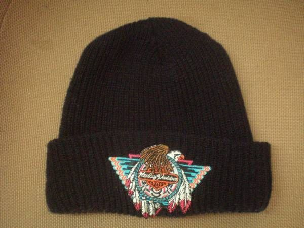 90's USA製 ハーレーダビッドソン イーグル ロゴ ワッペン付き ニット キャップ 黒ブラック Harley‐Davidson knit cap帽子 ハット バイク【deg】