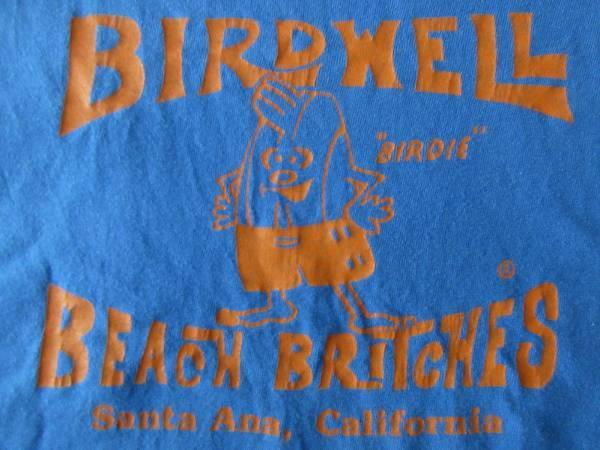 90's バードウェル ビーチ ブリッチズ BIRDIE 1961 BOXロゴ ポケット付きTシャツLブルー系Birdwell Beach BritchesサーフSURFバーディー【deg】