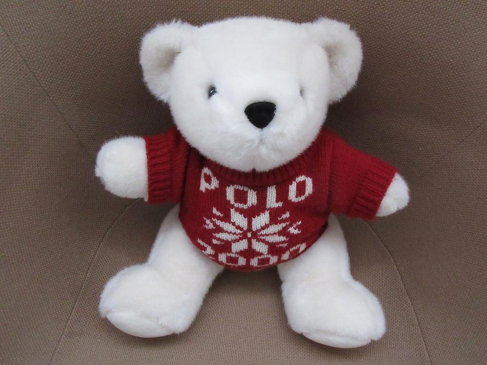 90's ラルフローレン 1999年 ポロベアー POLO雪の結晶 2000 ニット ぬいぐるみ ポロ ベア 熊BEAR人形RALPH LAUREN 雪柄 セーターn【deg】