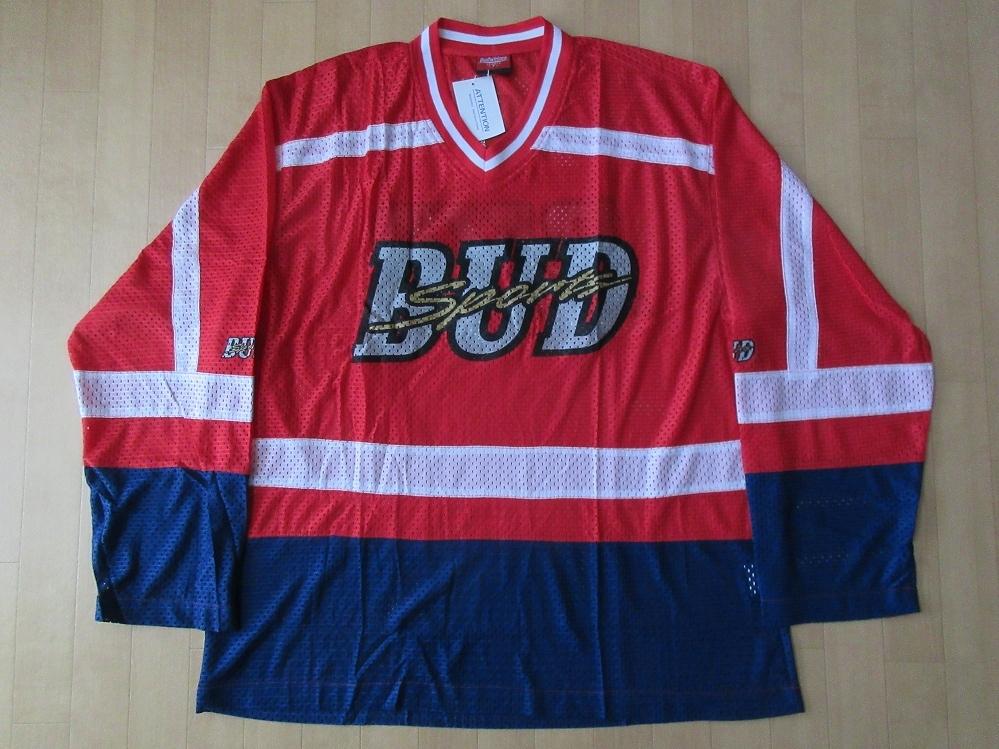 90's Budweiser SPORTS ビッグシルエット 薄手 メッシュ ホッケーシャツ L~XL位 レッド バドワイザー スポーツ ビールBUD SPORTジャージ【deg】