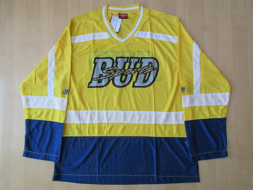 90's Budweiser SPORTS ビッグシルエット 薄手 メッシュ ホッケーシャツ L~XL位 イエロー バドワイザー スポーツ ビールBUD SPORT【deg】