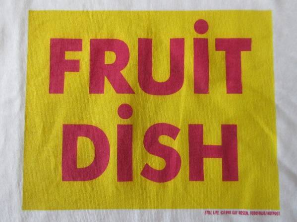 90's ケイ・ローゼン FOTOFOLIO FRUIT DISH BOXロゴ Tシャツ S KAY ROSEN ボックス 言語 メッセージ アートART芸術 現代美術 藤原ヒロシ【deg】