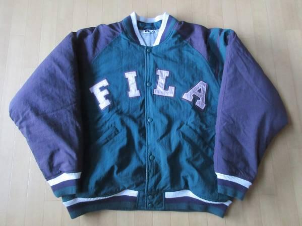 90's FILA 中綿入り ナイロン スタジャンLジャケットSPORT 大きい 【deg】