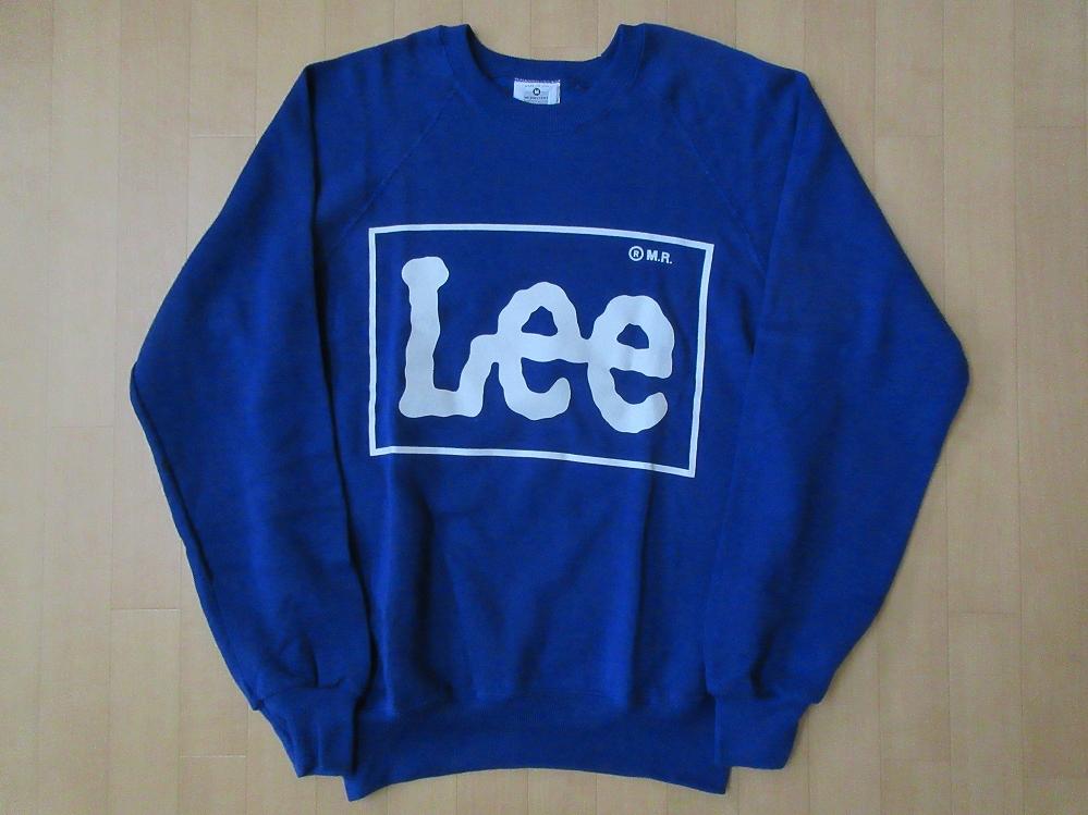 90's USA製 Lee オールド BOXロゴ ラグラン スウェット M ブルー~ネイビー系 リー トレーナー ボックス MADE IN U.S.A. ワーク WORK【deg】