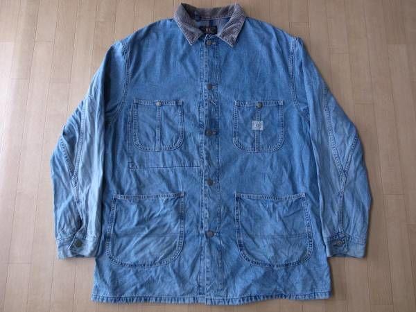 RRL デニム素材・カバーオール・ジャケット サイズ・L 正規品 MADE IN U.S.A. 難有り -298