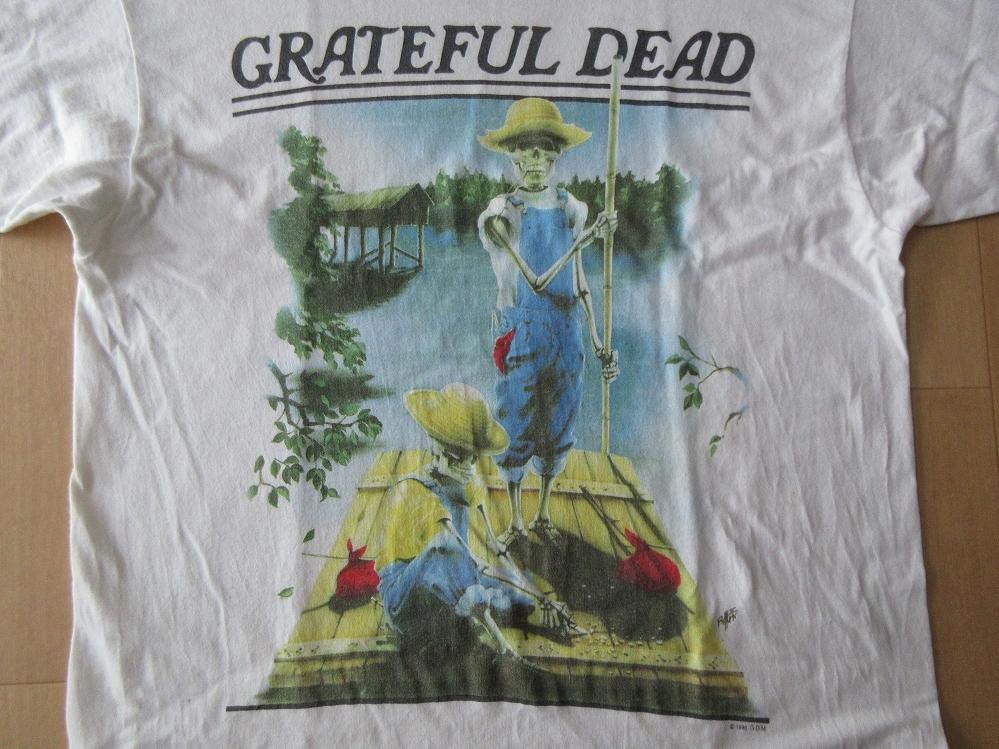 90's USA製 グレイトフルデッド Spring 1995 ストローハット オーバーオール スカル Tシャツ L Grateful Dead Bear デッドベアJerry【deg】