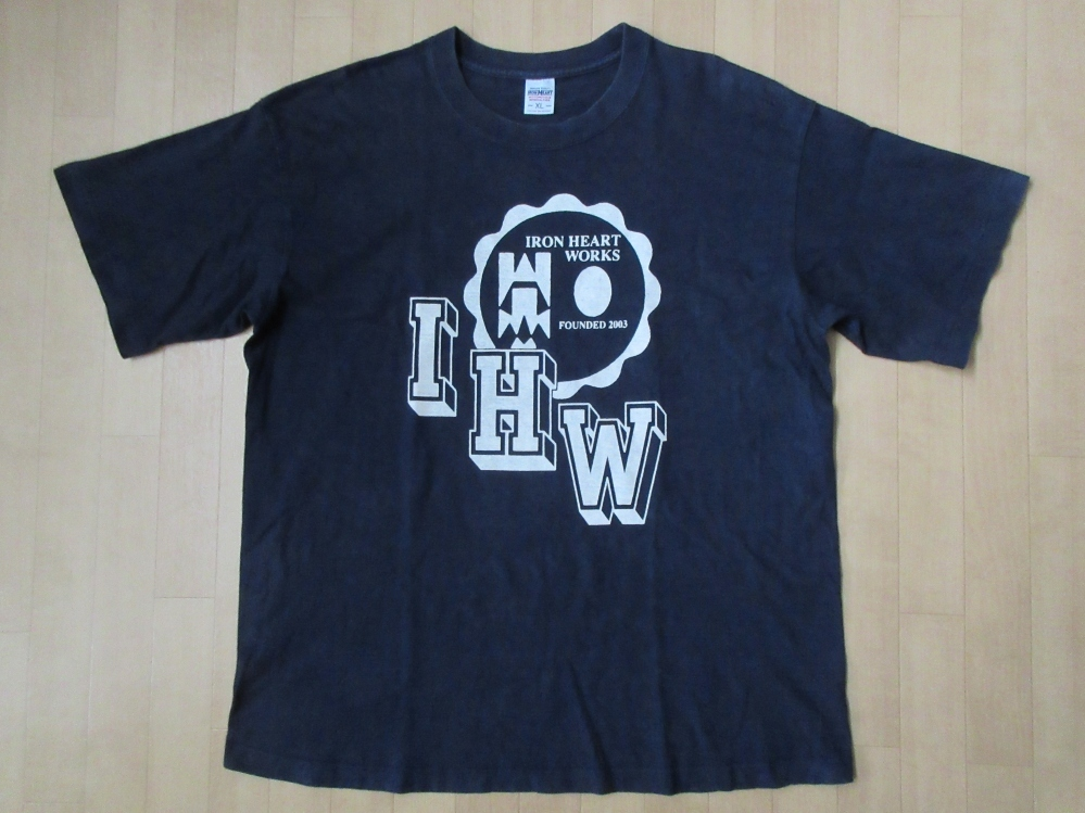 日本製 IRON HEART IHW カレッジ プリント Tシャツ XLネイビー アイアンハート ザ ワークスTHE WORKSハーレーダビッドソン バイク アメカジ【deg】