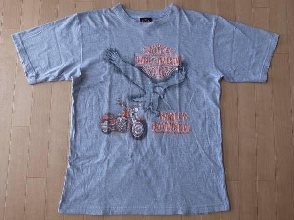 ハーレーダビッドソン イーグル バイク Tシャツ M~L位 ヘザーグレー Harley‐Davidson ロゴ 半袖 カットソー バイク バイカー ツーリング【deg】