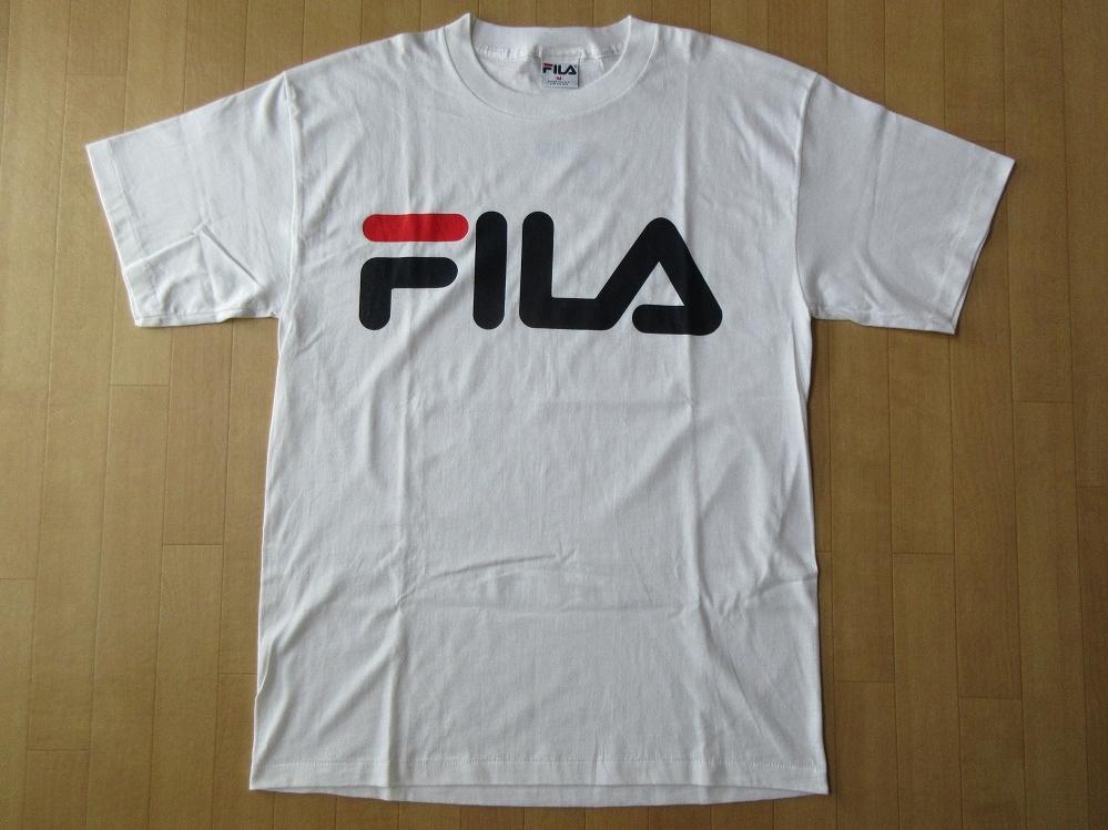 90's USA製 フィラ オールド ビッグシルエット ロゴ BOX Tシャツ M白 ホワイトFILA カットソー テニスHIP HOPボックスL XL オーバーサイズ【deg】