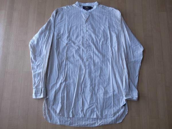 RRL マチ付き・スタンドカラー・ストライプ柄・長袖シャツ サイズ・M 正規品 R4 -466
