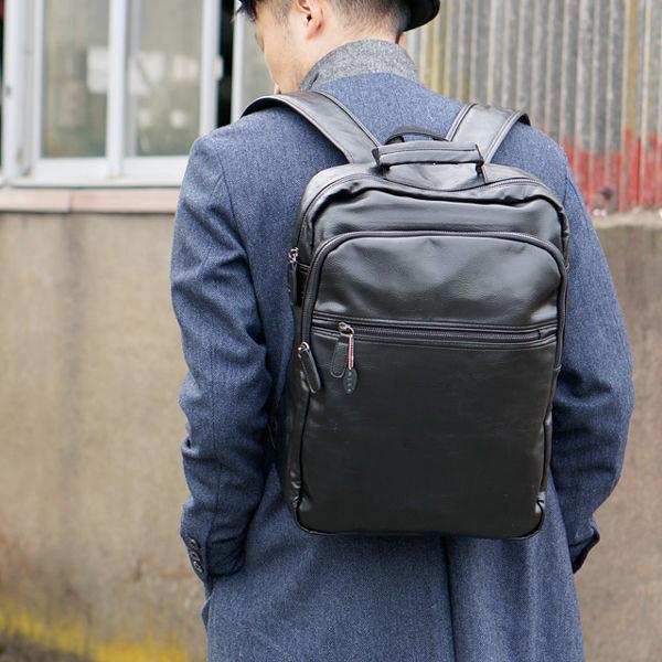 スクエア リュックサック A4 収納 PUレザー ビジネス バックパック ブラック
