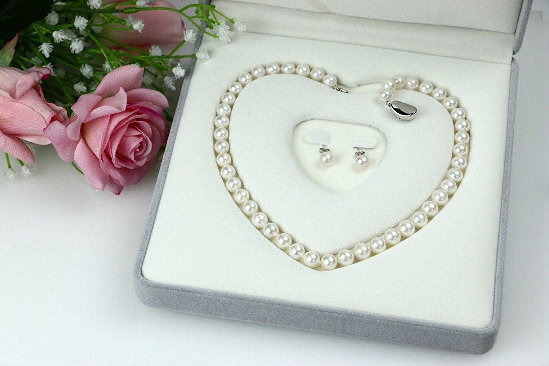 ブライダル 結婚式用 本真珠ネックレス&ピアスセット(またはイヤリングセット) 8.5-9mm ハートキーパーボックス付 【品質保証】