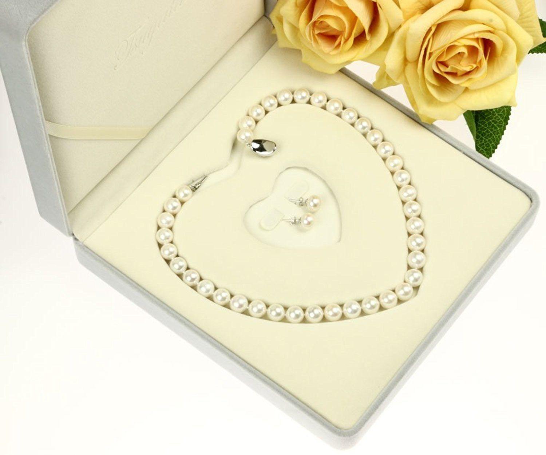 冠婚葬祭用 本真珠ネックレス&イヤリングセット(またはピアスセット)極太10-10.5mm ハートキーパーボックス付 【品質保証】