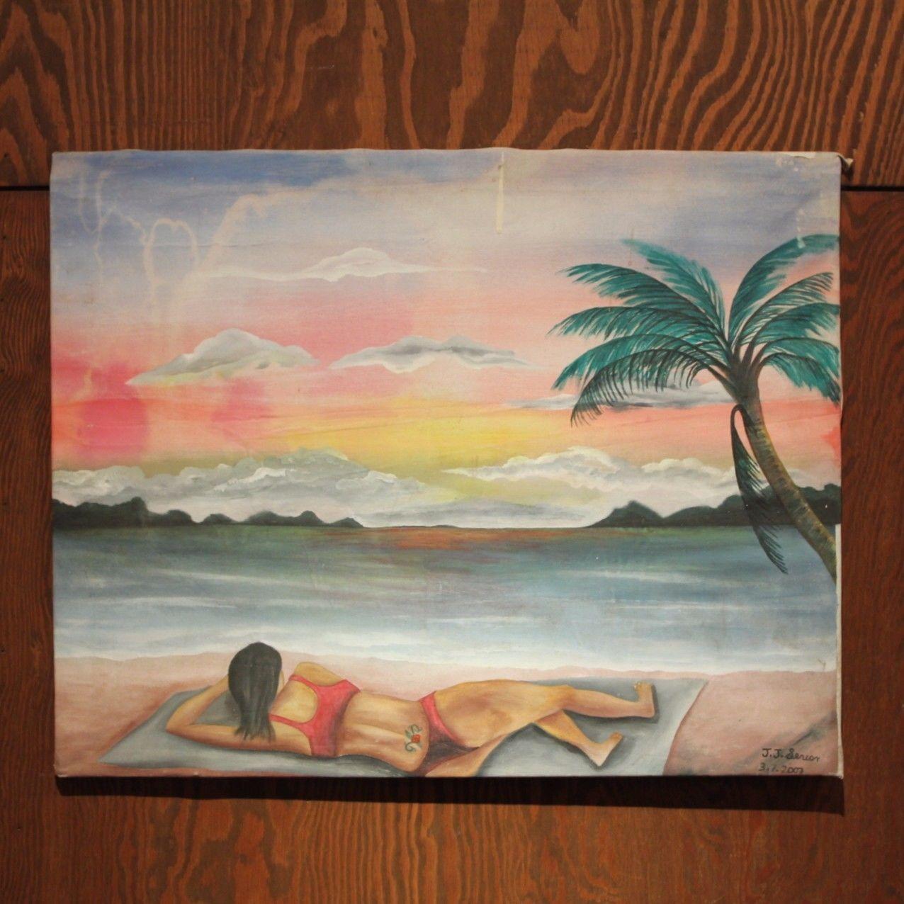 ジャマイカ ペイント 海、ヤシの木、水着女性 J.J(ジャマイカ絵画)