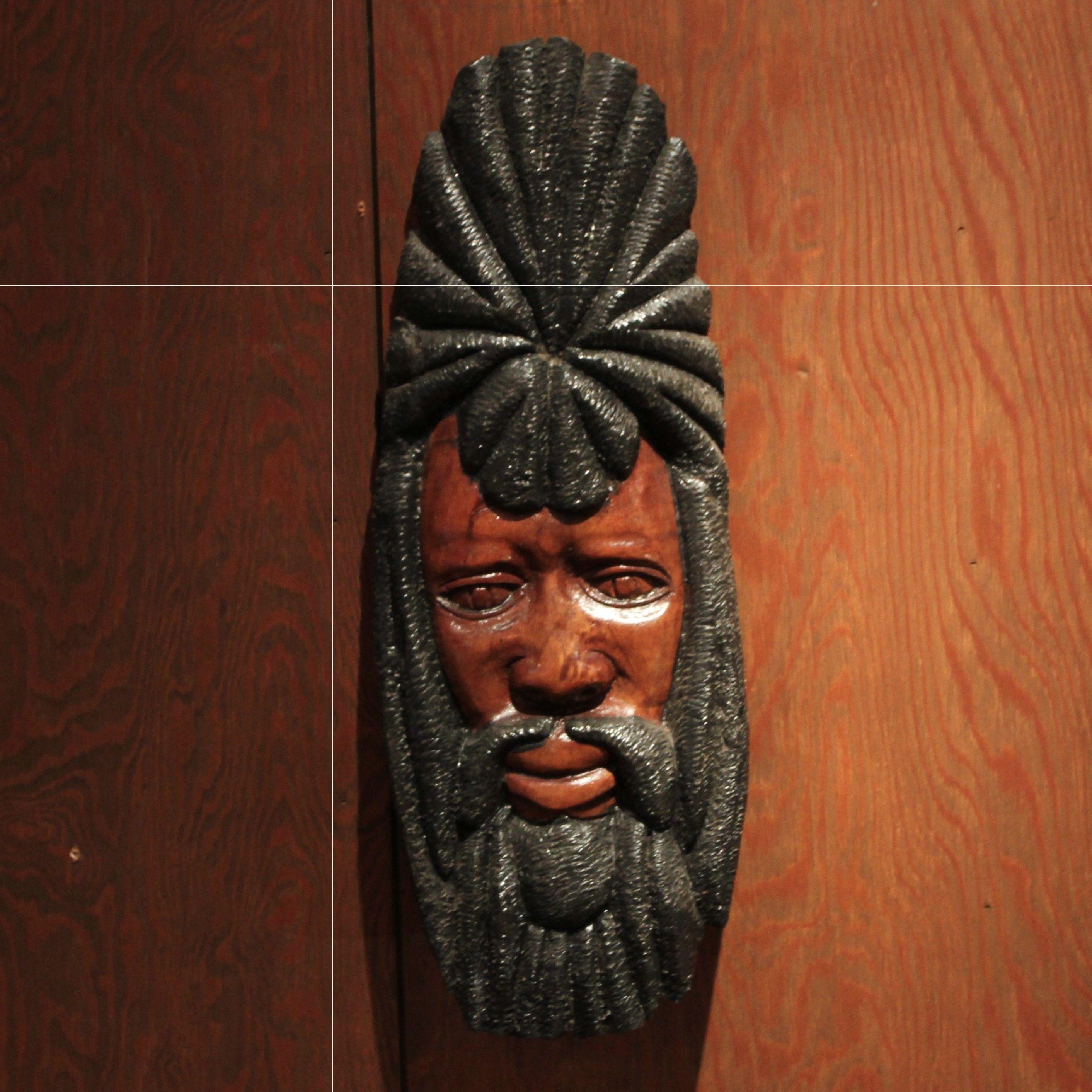 ラスタマン ジャマイカ 木彫り壁掛け