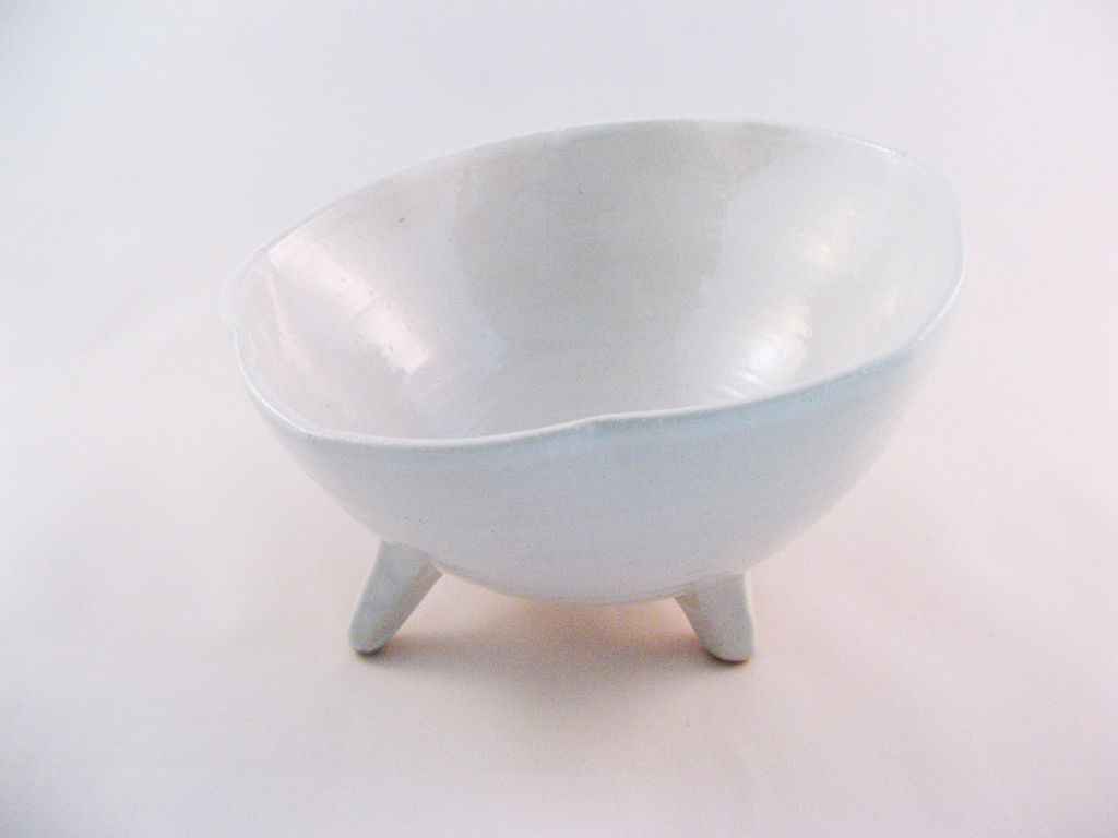 野中春利作『高足白釉桔梗形鉢』