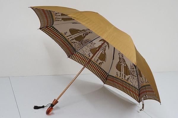 FS1735 モンブランヤマグチ 最高級折傘 USED美品 裏ほぐし織 ガス燈 日本製 55cm 中古 ブランド