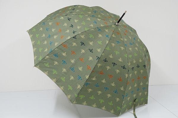 S0229 Vivienne Westwood MAN ヴィヴィアン 紳士傘 USED美品 ストライプ&オーブ 62cm 中古 ブランド